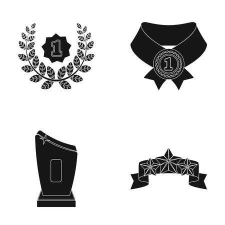 Winner for the first place in the competition, a crystal prize, a ribbon with the stars, a medal on the red ribbon.Awards and trophies set collection icons in black style vector symbol stock illustration web.