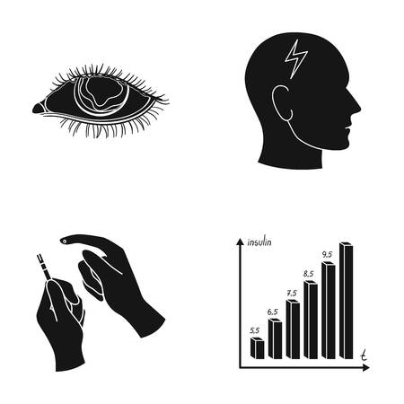 Poor vision, headache, glucose test, insulin dependence. Diabetic set collection icons in black style vector symbol stock illustration web.