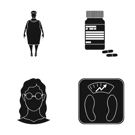 elevated: Full woman, a girl with glasses, a scales with exquisite result. Diabeth set collection icons in black style vector symbol stock illustration web.