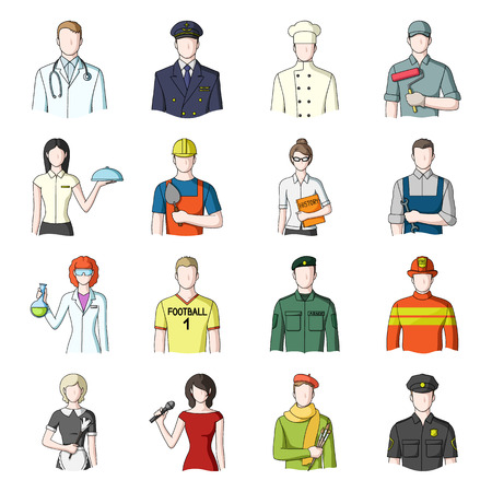 Doctor, worker, military, artist and other types of profession.Profession set collection icons in cartoon style vector symbol stock illustration web. Illustration