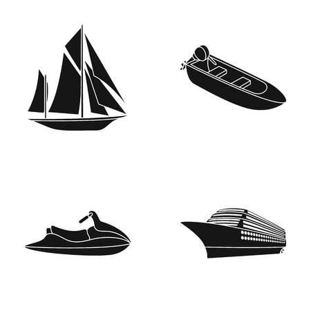 Ancient sailboat, motor boat, scooter, marine liner.Ships and water transport set collection icons in black style vector symbol stock illustration web. Illustration