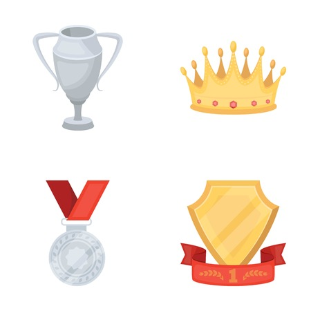 laureate: A silver cup, a gold crown with diamonds, a medal of the laureate, a gold sign with a red ribbon.Awards and trophies set collection icons in cartoon style vector symbol stock illustration web.