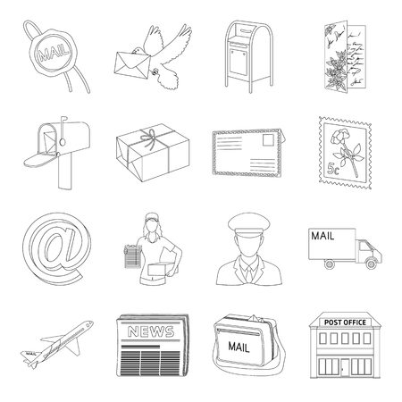 sealing wax: Postman, envelope, mail box and other attributes of postal service.Mail and postman set collection icons in outline style vector symbol stock illustration web.