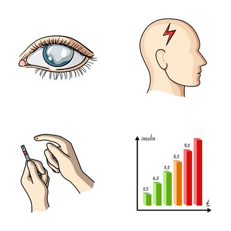 Poor vision, headache, glucose test, insulin dependence. Diabetic set collection icons in cartoon style vector symbol stock illustration web.