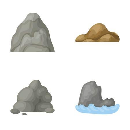 Cantos rodados, una montaña redondeada, rocas en el mar. Diversas montañas fijaron iconos de la colección en web del ejemplo de la acción del símbolo del vector del estilo de la historieta.