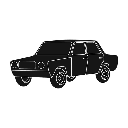 Old car.Car single icon in black style vector symbol stock illustration web. Ilustrace
