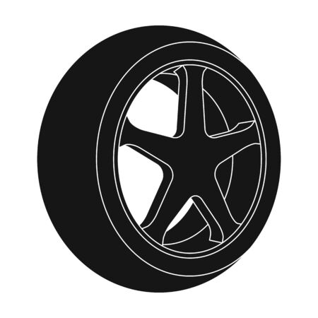 tire cover: Wheel with a tire cover for the car.Car single icon in black style vector symbol stock illustration web.