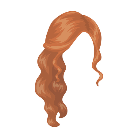 Red wavy.Back hairstyle single icon in cartoon style vector symbol stock illustration web.