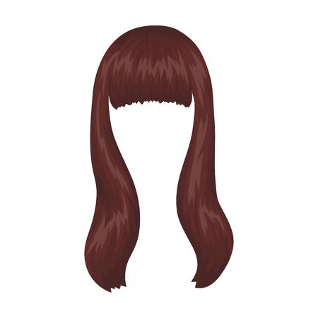 暗い長い。漫画スタイルのベクトル シンボル ストック イラスト web で髪型 1 つのアイコンをバックアップします。  イラスト・ベクター素材