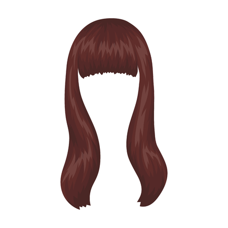 Dark long.Back hairstyle single icon in cartoon style vector symbol stock illustration web.