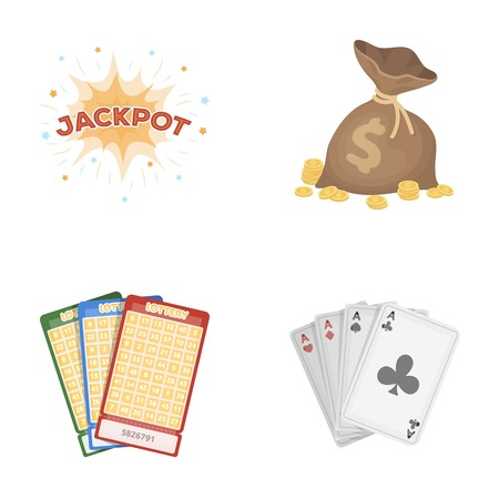 Jack sweat, a bag with money won, cards for playing Bingo, playing cards. Casino and gambling set collection icons in cartoon style vector symbol stock illustration web.