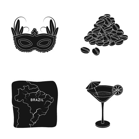 mainland: Brazil, country, mask, carnival . Brazil country set collection icons in black style vector symbol stock illustration web. Illustration
