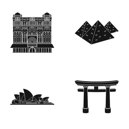interesting: Building, interesting, place, palace .Countries country set collection icons in black style vector symbol stock illustration web.