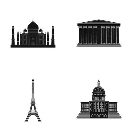 interesting: Building, interesting, place, tower .Countries country set collection icons in black style vector symbol stock illustration web.