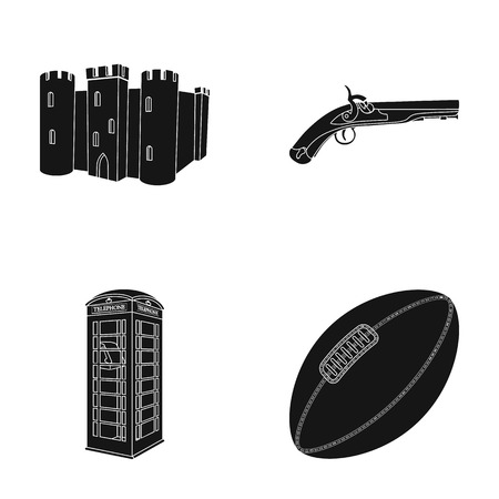 breed, dog, teapot, brewer .England country set collection icons in black style vector symbol stock illustration web.