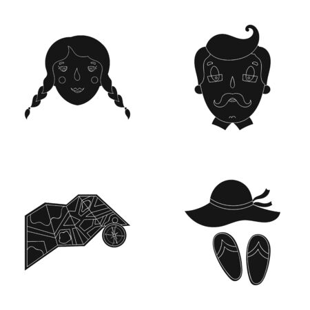 Travel, vacation, camping, map .Family holiday set collection icons in black style vector symbol stock illustration web. 版權商用圖片 - 79614263