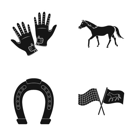 racing: Race, track, horse, animal .Hippodrome and horse set collection icons in black style vector symbol stock illustration web.