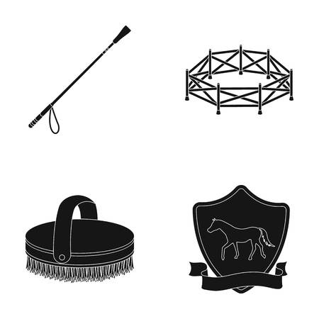 Aviary, whip, emblem, hippodrome .Hippodrome and horse set collection icons in black style vector symbol stock illustration web.