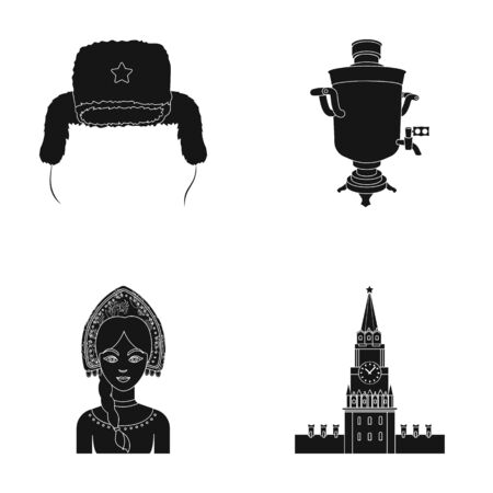 Clothes, woman, kremlin, building .Russia country set collection icons in black style vector symbol stock illustration web. Illustration