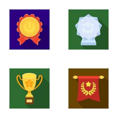 star award: An medal for the first place, a crystal ball, a gold cup on a stand, a red pendant.Awards and trophies set collection icons in flat style vector symbol stock illustration web.