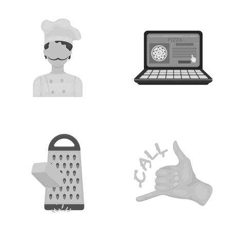 grated cheese: Cook, order by phone, grated cheese, ordering a face gesture.Pizza and pizzeria set collection icons in cartoon style vector symbol stock illustration web. Illustration
