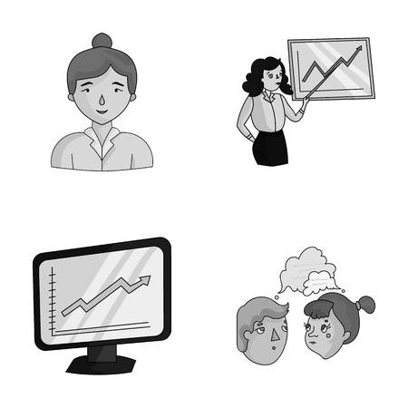 Businesswoman, growth charts, brainstorming.Business-conference and negotiations set collection icons in monochrjme style vector symbol stock illustration web.