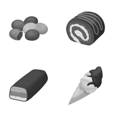 Dragee, roll, chocolate bar, ice cream. Chocolate desserts set collection icons in monochrome style vector symbol stock illustration web.