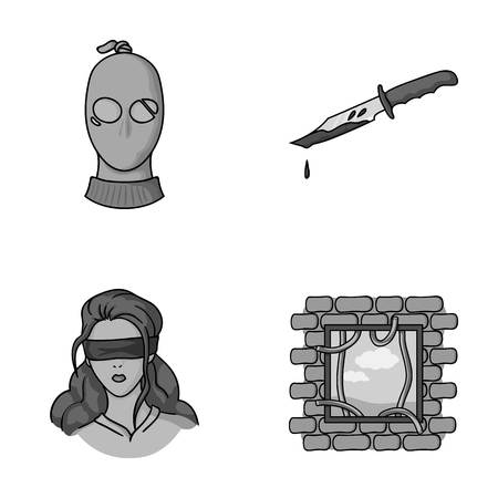 A thief in a mask, a bloody knife, a hostage, an escape from prison.Crime set collection icons in monochromet style vector symbol stock illustration web.
