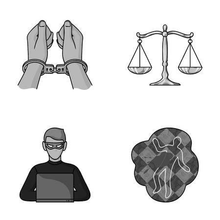 Handcuffs, scales of justice, hacker, crime scene.Crime set collection icons in monochromet style vector symbol stock illustration web.