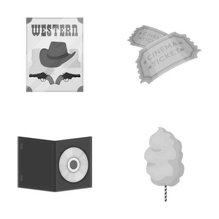 Westerse cinema, tickets, zoete watten, film op DVD. FILM en cinema set collectie iconen in zwart-wit stijl vector symbool stock illustratie web.