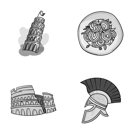 antiquity: Pisa tower, pasta, coliseum, Legionnaire helmet.Italy country set collection icons in monochrome style vector symbol stock illustration web.