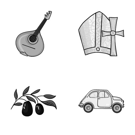 Mandolin, papa, olive, retro auto.Italy country set collection icons in monochrome style vector symbol stock illustration web.