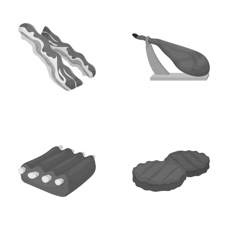 Bacon, jamon, pork ribs, fried cutlets. Meat set collection icons in monochrome style vector symbol stock illustration web.