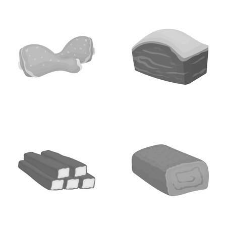 meatloaf: Chicken drumstick, podcherevina, crab sticks, meatloaf. Meat set collection icons in monochrome style vector symbol stock illustration web.