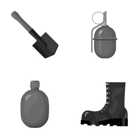 Sapper blade, hand grenade, army flask, soldier s boot. Military and army set collection icons in monochrome style vector symbol stock illustration web. Ilustração