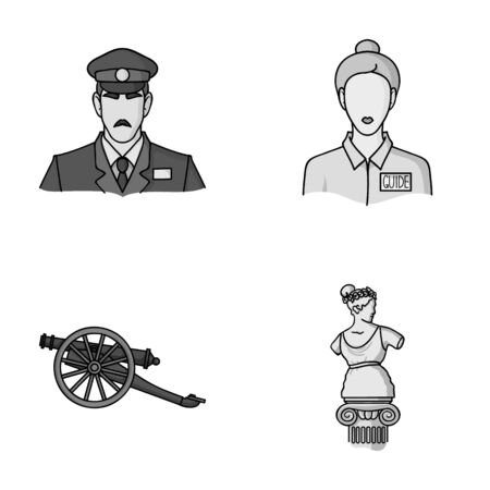 Guard, guide, statue, gun. Museum set collection icons in monochrome style vector symbol stock illustration web. Illustration