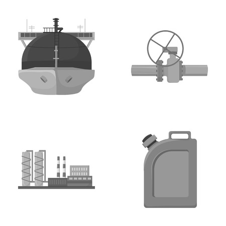 Tanker, pipe stop, oil refinery, canister with gasoline. Oil industry set collection icons in monochrome style vector symbol stock illustration web.