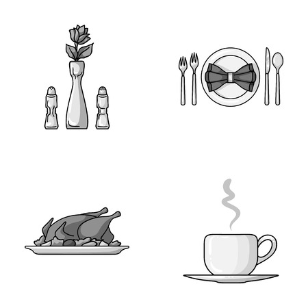 Vase with a flower, table setting, fried chicken with garnish, a cup of coffee.Restaurant set collection icons in monochrome style vector symbol stock illustration web. Illustration