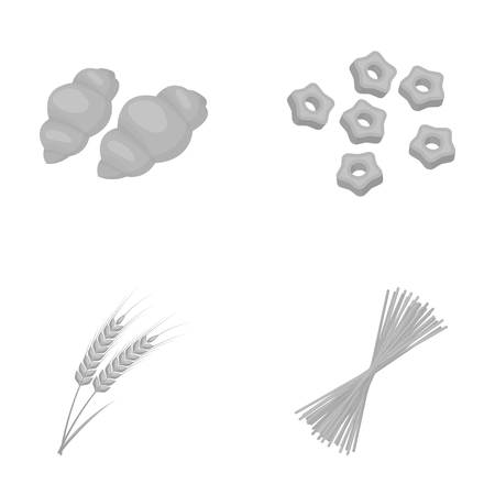 Different types of pasta. Types of pasta set collection icons in monochrome style vector symbol stock illustration web.