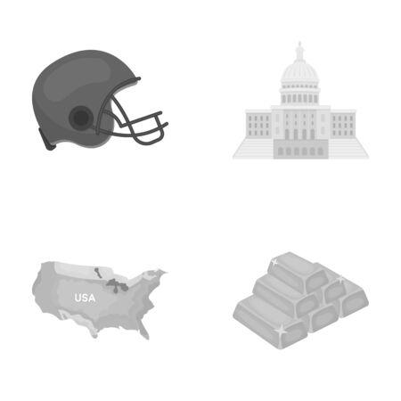 サッカー選手のヘルメット、議会議事堂、区域の地図、金、外国為替。アメリカ国は、モノクロ スタイル ベクトル シンボル ストック イラスト web