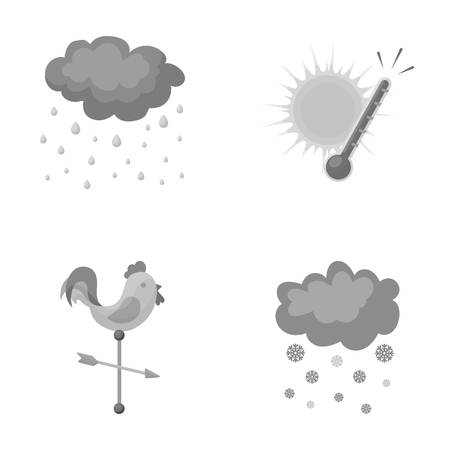 weathervane: Rain, snow, heat, weathervane. The weather set collection icons in monochrome style vector symbol stock illustration web.