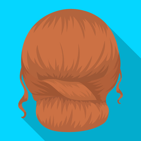 spit: Red combed behind.Back hairstyle single icon in flat style vector symbol stock illustration web.