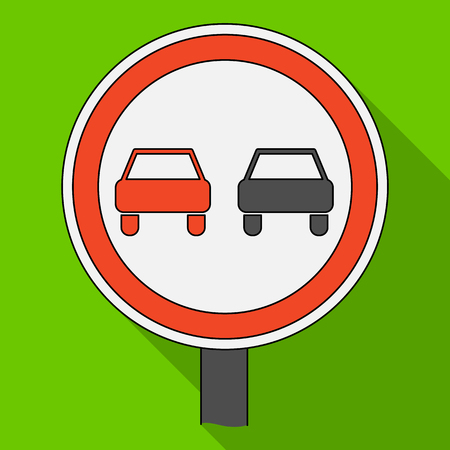 Road sign overtaking is prohibited.Car single icon in flat style vector symbol stock illustration web. Illustration