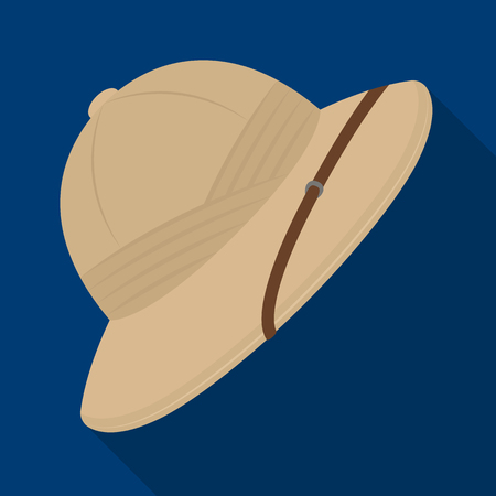 Cork hat from the sun.African safari single icon in flat style vector symbol stock illustration web. 矢量图像