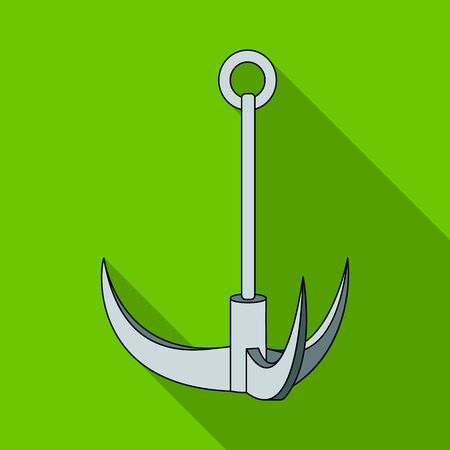 grappling: Climbing hook.Mountaineering single icon in flat style vector symbol stock illustration web.