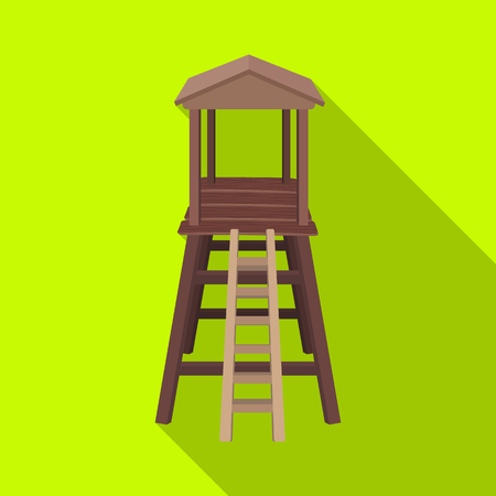 hunters tower: Observation tower for hunters.African safari single icon in flat style vector symbol stock illustration web. Illustration