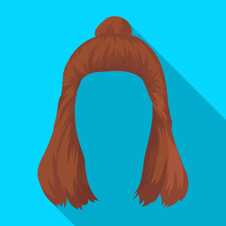 Red with a shingle.Back hairstyle single icon in flat style vector symbol stock illustration web. Illustration