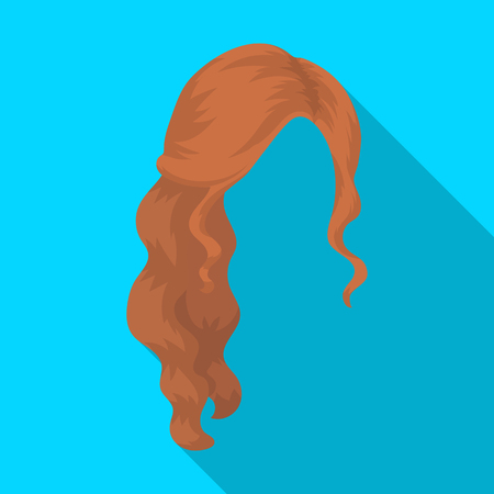 Red wavy.Back hairstyle single icon in flat style vector symbol stock illustration web.