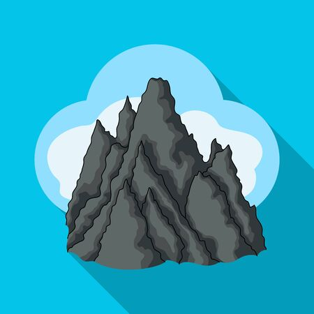 The top of the mountain in the clouds.Mountaineering single icon in flat style vector symbol stock illustration web. Illustration