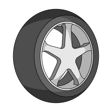 tire cover: Wheel with a tire cover for the car.Car single icon in monochrome style vector symbol stock illustration web. Illustration